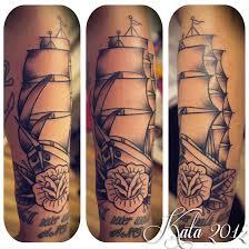Kata Puupponen Vorssa Ink Tattoo Tatuointi Sailor Jerry Snake Kaarme Traditional Ship Sailboat Boat Rose Ruusu 787x787