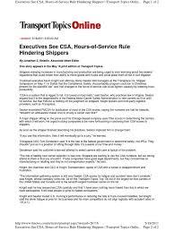 Execs See CSA HOS Hindering-TT-051611   Transport   Industries