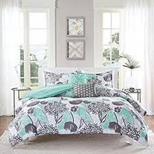 amazon com 5 piece girls mint grey floral theme comforter full