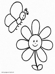 Coloring Pages Of Flowers And Butterflies For Preschool Kids