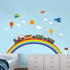ufengke wandtattoo regenbogen zug wandaufkleber wandsticker rakete flugzeug für kinderzimmer jungen schlafzimmer wohnzimmer