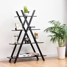 100 Tree Branch Bookshelves Costway 4Tier Bookshelf Storage Display Shelves Bookcase Ladder XShape BrownBlack