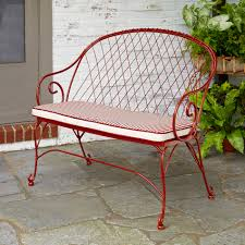 Kmart Jaclyn Smith Patio Furniture by Jaclyn Smith Cherry Valley Red 2 Person Bench With Stripe Seat Pad