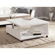 table basse carrée en bois laqué blanc hauteur 38 cm genes
