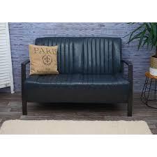 wohnzimmer set hwc h10 2er sofa polstersessel couchtisch kunstleder metall industrial fsc grau