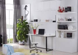 Wall bed desk units from murphysofa Balances items on the desk