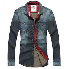 Chemise En Jeans Denim Homme Interieur Lignee Rouge
