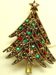 Description Hollycraft Ribbon Christmas Tree Pin With Red And Green Flatback Rhinestones
