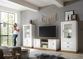 home affaire wohnwand orlando 3 tlg 1 standregal 1 lowboard 1 vitrine im romantischen landhaus look kaufen otto