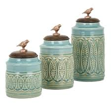 Turquoise Kitchen Canister Sets by Trisha Yearwood Home Collection Songbird 3 Piece Kitchen Canister