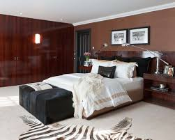 Inspiration For A Modern Carpeted Bedroom Remodel In London With Brown Walls
