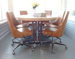 Dinette Sets With Roller Chairs by Chair Chairs On Casters Dining Room 1 Best Table With Roller Poker