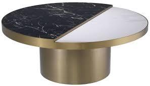 casa padrino luxus couchtisch schwarz weiß messingfarben ø 89 x h 55 5 cm runder edelstahl wohnzimmertisch mit 2 halbrunden keramikplatten