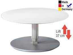 couchtisch lüttich rund 80x39 cm höhenverstellbar glasplatte weiß expendio