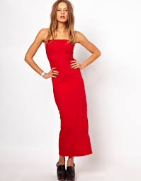 american apparel tube maxi dress in red lyst