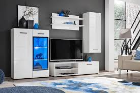 wohnwand ilse mini wohnzimmer tv schrank modern schwarz hochglanz led