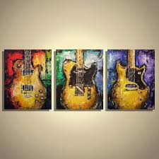 Multi Panel Guitar Canvas Wall Art Painting Les Paul Junior Music Musician Original