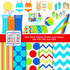 Pool Toys Swimsuit Summer Clipart Digital Paper Pack and