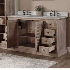 Rustic Style Matte Ash Grey Limestone Top 60 Inch Double Sink Bathroom Vanity