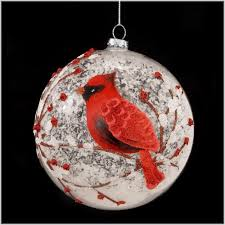 Snowy Red Cardinal Branches Glass Ball Christmas Tree Ornament 5 Inches