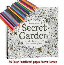 36 Lapices De Colores 96 Paginas Ingles Jardin Secreto Libros Para Colorear Adultos Dibujados