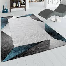 wohnzimmer teppich mit bordüre und 3 d effekt kurzflor teppich in beige türkis