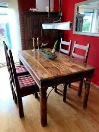 massivholz esstisch 160x90 inklusive 6 stühle kolonialstil