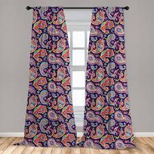 gardine fensterbehandlungen 2 panel set für wohnzimmer schlafzimmer dekor abakuhaus paisley retro hippie motive kaufen otto