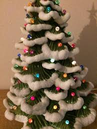 Vintage Atlantic Mold Ceramic Christmas Tree by 1970s Vintage Ceramic Snow Flocked Light Up Christmas Tree Lamp