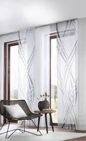 flächenvorhang schwarz weiß wellen transparenter vorhang