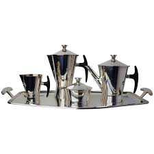 1950s Avant Garde Silver Plated Coffee Tea Set For Sale