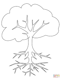 Click The Tree With Roots Coloring Pages