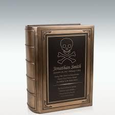 Large Skull Crossbones Book Cremation Urn