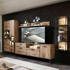 details zu wohnwand anbauwand industrial design wohnzimmer tv mediawand led eiche graphit