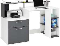 bureau gris blanc demeyere 305888 oracle 1 door 1 drawer workstation wood white