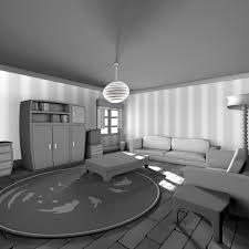 schwarzweiss karikatur wohnzimmer 3d modell turbosquid 1402171