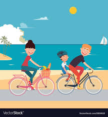 Happy Family Riding Bikes On The Beach Vector Image