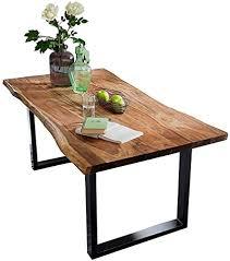 sam baumkantentisch 180x90 cm quarto nussbaumfarbig esszimmertisch aus akazie holz tisch mit schwarz lackierten beinen