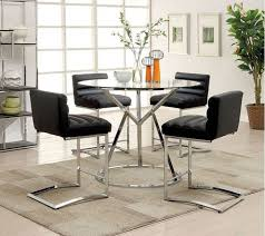 5 PC Furniture Of America Livada II Black Counter Height Dining Room Table Set CM3170RPT