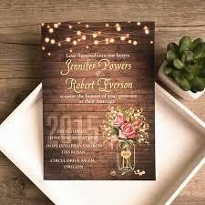 Spring Flower Mason Jar String Lights Rustic Invitations EWI416