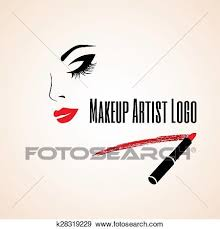 Abstract woman face with closed eye Trace of lipstick Makeup artist logo Vector illustration