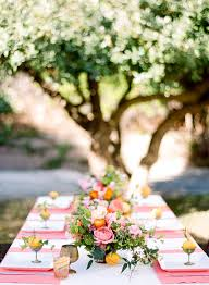 Entertaining A Coral Orange Green Springtime Table