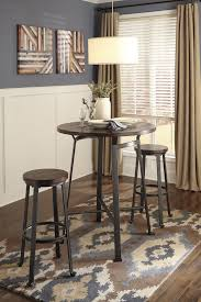 Challiman Round Dining Room Bar Table 2 Tall Stools