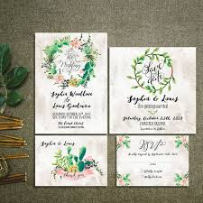 Cactus Wreath Succulent Wedding Invitation Kit Rustic Pink And Greenery Floral Set Suite RSVP Thank You Cards Printable Digital Files