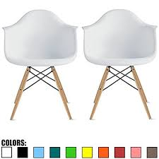Webbed Lawn Chairs With Wooden Arms by Amazon Com 2xhome Set Of Two 2 White Eames Style Armchair