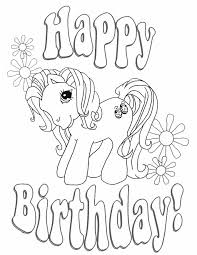 Peaceful Ideas Coloring Page Birthday My Little Pony And Flowers