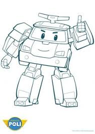 Poli The Robot Police Car Coloring Page