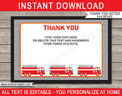 Printable Fireman Party Thank You Cards   Fireman Birthday Party