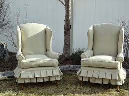 Wingback Chair Slipcover Linen by French Garden Treasures French Garden Treasures Romantic Wingback