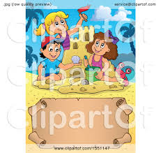 Clipart Of A Group Happy Children Making Sand Castle On Beach With Scroll